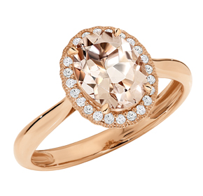 Morganite Rose Gold Oval Ring