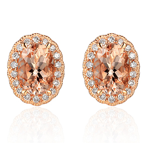Morganite Rose Gold Earrings