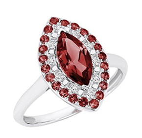 GARNET MARQUISE DIAMOND RING