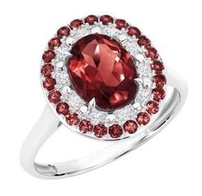 GARNET OVAL DIAMOND RING