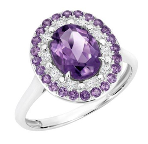 AMYTHYST OVAL DIAMOND RING