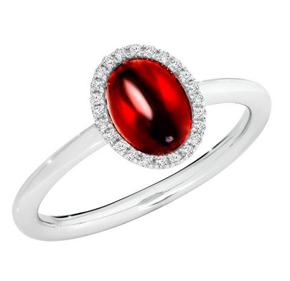 CABOCHON GARNET WHITE GOLD RING
