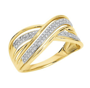 YELLOW GOLD MICRO PAVE CROSS OVER RING