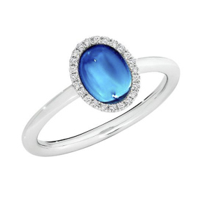 CABOCHON BLUE TOPAZ AND DIAMOND WHITE GOLD RING