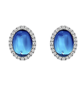 CABOCHON BLUE TOPAZ AND DIAMOND WHITE GOLD EARRINGS