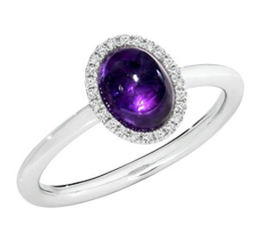 CABOCHON AMETHYST WHITE GOLD RING