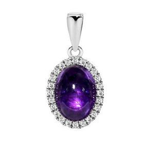 CABOCHON AMETHYST WHITE GOLD PENDANT