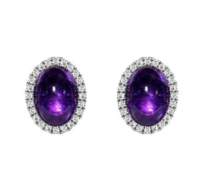 CABOCHON AMETHYST AND DIAMOND WHITE GOLD EARRINGS