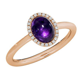 CABOCHON AMETHYST ROSE GOLD RING