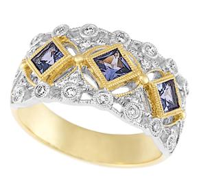 Princess Cut Tanzanite and RBC Diamond Ring RMIL11TZ