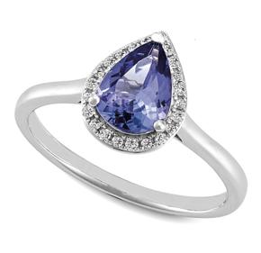 Pear Tanzanite & RBC Diamond Set Ring