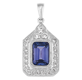 Emerald Cut Tanzanite and RBC Diamond Milgrain Pendant PTZ10