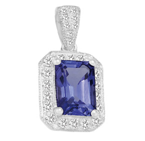 Emerald Cut Tanzanite and RBC Diamond Milgrain Pendant PTZ08