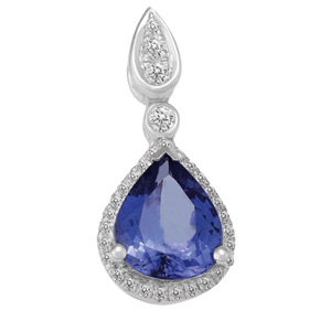 Pear Shape Tanzanite and Diamond Drop Pendant PTZ115
